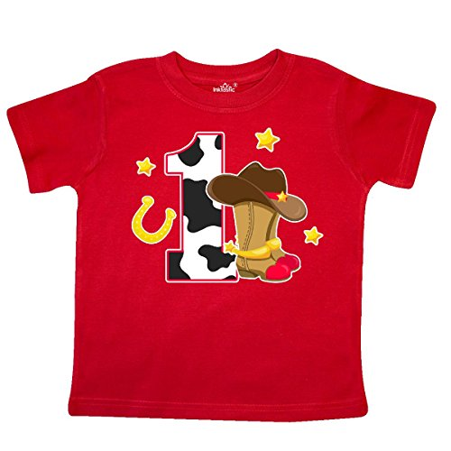 inktastic Cowboy Birthday One Year Old with Cowboy Toddler T-Shirt 2T Red - Old West Cowboy Clothing