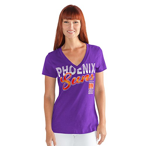 GIII For Her NBA Phoenix Suns Women's 1St Down V-Neck Tee, Small, Purple -