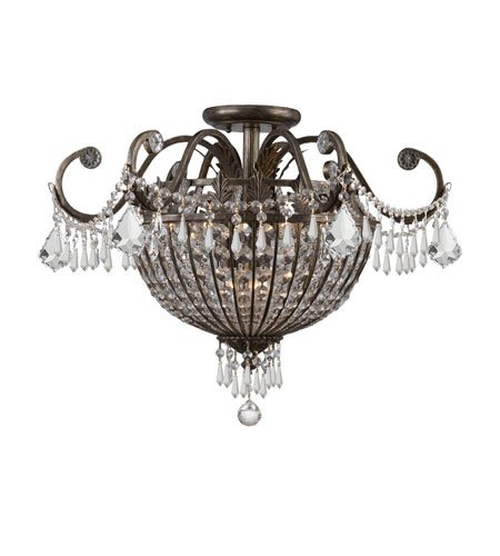 Crystorama 5167-EB-CL-MWP Crystal Nine Light Ceiling Mounts from Vanderbilt collection in Bronze/Darkfinish, ()