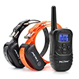 Petrainer PET998DB2 330 Yards Rechargeable and Waterproof Dog Training Collar for 2 dogs with Safe Beep, Vibration and Shock Electronic Electric Collar