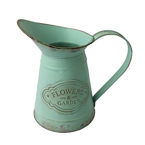 APSOONSELL Shabby Chic Rustic Style Metal Jug Pitcher Flower Vase Watering Can for Home Garden Decoration Large -