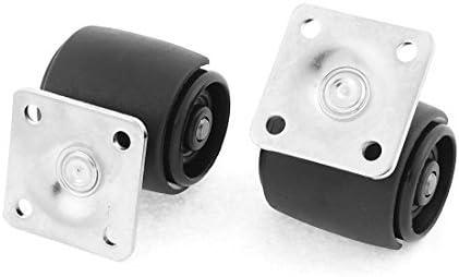 eDealMax Metal Superior cuadrada Home Plate Silla de ruedas de Doble pivote de la ruedecilla 2 piezas