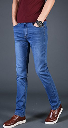 Plaid&Plain Men's Slim Tapered Jeans Stretch Skinny Jeans Lightweight Jeans LightBlue 30 by Plaid&Plain (Image #4)