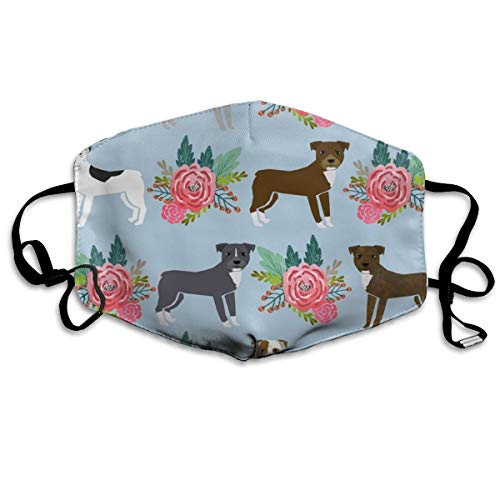 Pitbull Florals Flower Blue Pitbull Terrier Pitbull Floral Dog Cute Dog Florals Anti Dust Mask Anti Pollution Washable Reusable Mouth Masks ()
