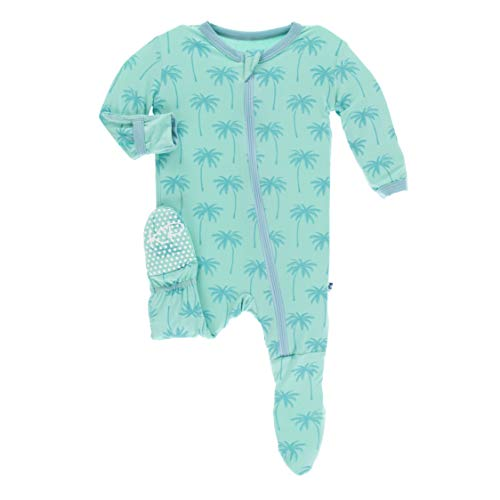 KicKee Pants Print Footie with Zipper in Glass Palm Trees - 12-18 Months