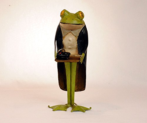 Butler Frog 14 inch Statue Dumb Waiter with tray