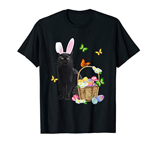 Black Cat Bunny Hat Rabbit Easter Eggs T-Shirt Easter Gifts ()