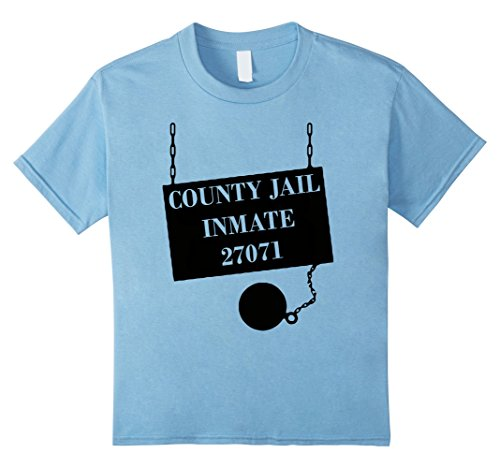 Kids County Jail T-Shirt Funny Prison Inmate Costume Top Tee 12 Baby Blue