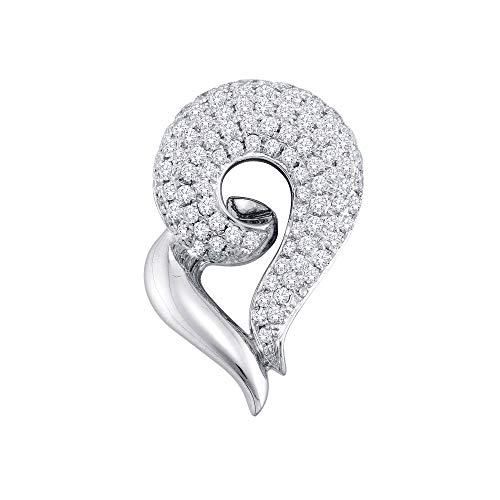 Jawa Jewelers 14kt White Gold Womens Round Pave-Set Diamond Curled Heart Pendant 3/4 Cttw ()