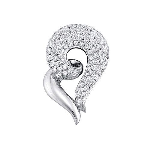 Jawa Jewelers 14kt White Gold Womens Round Pave-Set Diamond Curled Heart Pendant 3/4 Cttw
