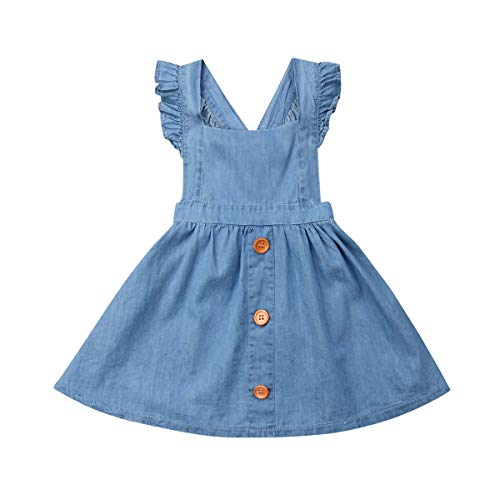 Jamlynbo Baby Toddler Kid Girls Ruffled Suspender Denim Dress Button Down Strappy Pinafore Overalls (5-6 Years) Blue