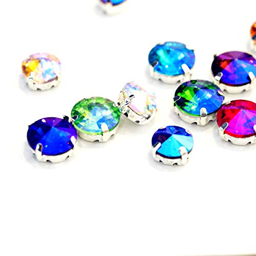 (BLINGINBOX 100PCS 8mm Round Rivoli Mixed Color AB Crystal Glass Strass Sew On Rhinestones with Silver Bottom Claw)