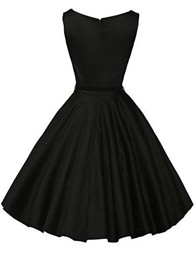 Homful Sleeveless Vintage Dress With Belt Half Length Retro Floral Vintage Dress Audrey Hepburn Style Black