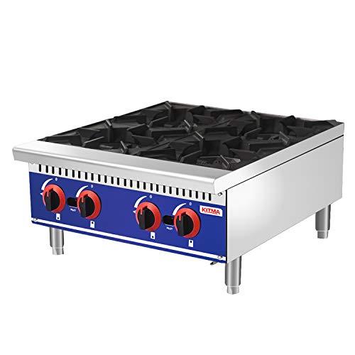 Commercial Countertop Hot Plate - KITMA 24 Inches 4 Burner Liquid Propane Range - Restaurant Equipment for Soups, Sauces.