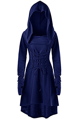 Womens Renaissance Costumes Hooded Robe Lace Up Vintage Pullover High Low Long Hoodie Dress Navy Blue -