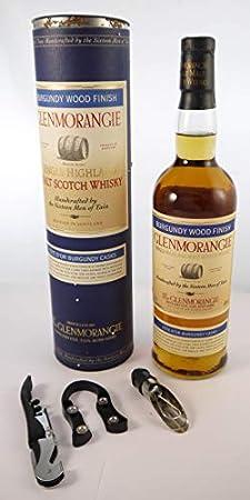 Glenmorangie Burgundy Wood Finish Highland Single Malt Scotch Whisky Distillery Bottling 70cls en una caja de regalo forrada de seda con cuatro accesorios de vino, 1 x 700ml