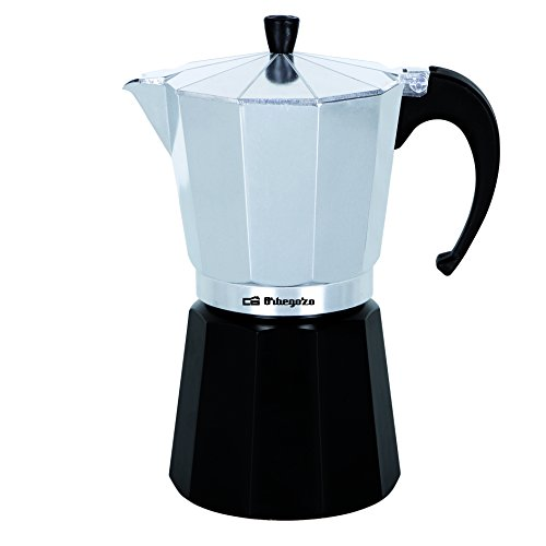 Orbegozo KFM 230 230-Cafetera, 2 Tazas, Color Plata, Aluminio, Negro