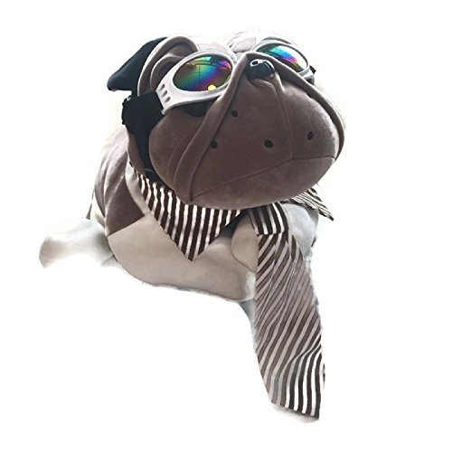 HOT! 1 Set Adjustable Large Dog Striped Cotton Necktie + Dog glasses eye wear waterproof Dog UV Protection Sunglasses Suitable for Photo Props, Outdoor, Costume (S, White Goggle + Khaki - Halloween Ideas Nerd