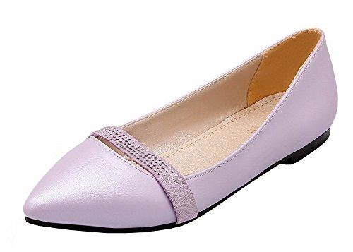 Allhqfashion Womens Lage Hakken Pu Stevige Dichte-teen Pumps-schoenen Paars
