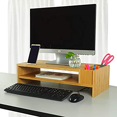 2-Tier Bamboo Monitor Stand | Wood Desk Organizers and Accessories | Laptop Computer Monitor Riser with Adjustable Storage Accessories