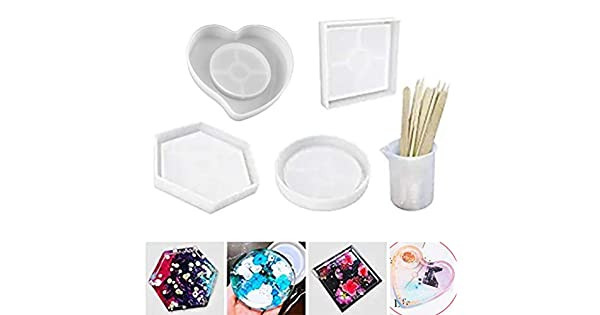 Square Including Round 4Pcs Shiny Resin Casting Molds for Coasters Heart Shape Mold Bowl Mat etc Flower Pot Holders LETS RESIN Silicone Coaster Molds Epoxy Resin Molds Hexagon Candle Holders