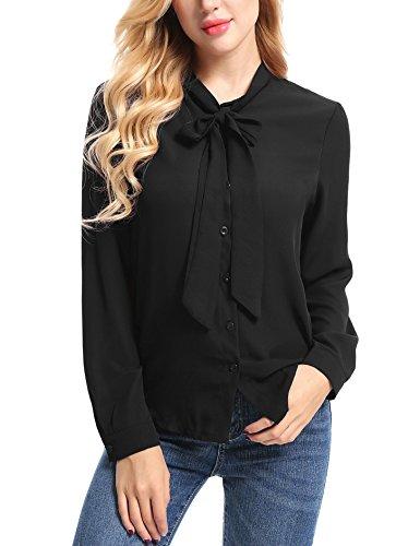 FISOUL Womens Casual Blouse Bow Tie Neck Long Sleeve Button Down Office Shirt Plain Chiffon Blouse Black ()
