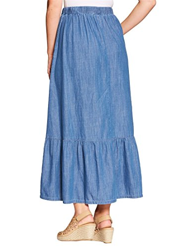 Women's Plus Size Chambray Drawstring Skirt Stonewash Sanded,24 (24w Skirt)