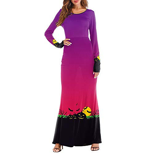 NREALY Women's Long Sleeve Pumpkins Halloween 3D Print Casual Party Long Maxi Dresses(L/XL, Purple)