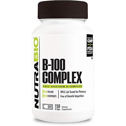 NutraBio B-100 – B Vitamin Complex (150 Vegetable Capsules)