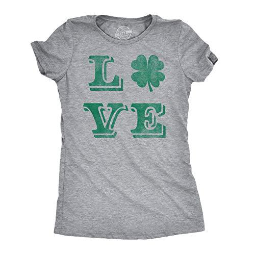 Womens Love Lucky Clover Vintage Cute Irish Shamrock T Shirt for Ladies (Heather Grey) - XL
