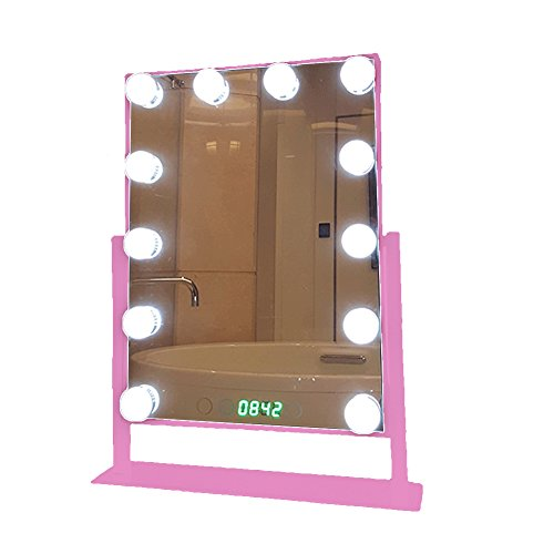 Geek-House Tabletops Lighted Makeup Vanity Mirror Hollywood Style LED Bulb & Dimmer & Clock USB Powered Valentine's Day Gift Pink by GeekHouse (Image #1)