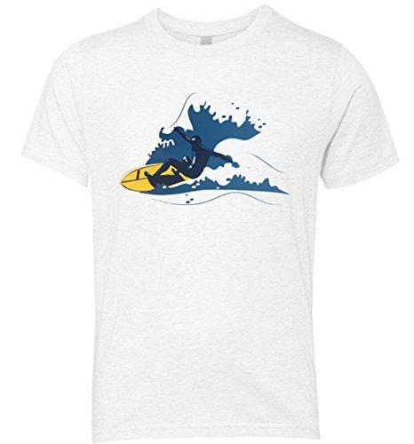 Big Wave Surfing Aquatic Sufing Man Sport Softstyle Kid's Youth Tshirt (Xlarge, White) (Halloween En Estados Unidos)