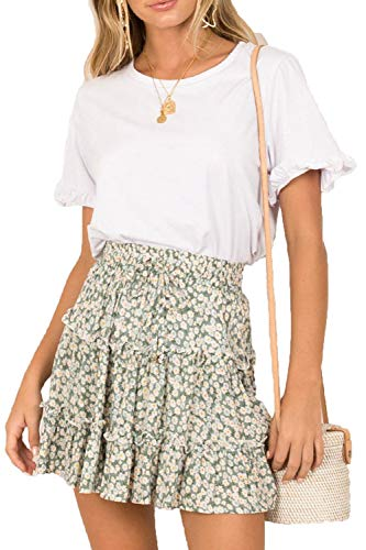 SimpleFun Womens Plus Size Summer Skirts Floral Ruffle Mini Skirts Green ()
