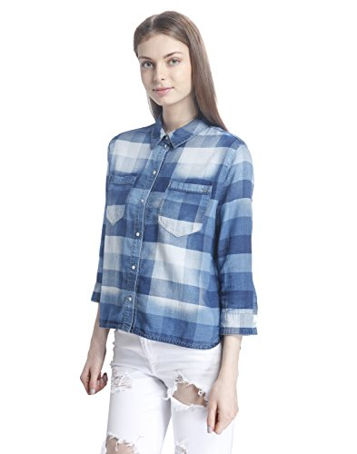 ONLY - Femme 3/4 manches chemise nori button check 40 denim