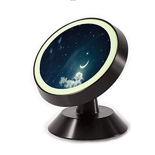 Crescent Mount Board - Magnetic Dashboard Cell Phone Car Mount Holder,Crescent Lunar with Clouds Celestial Image,can be Adjusted 360 Degrees to Rotate,Phone Holder Compatible All Smartphones