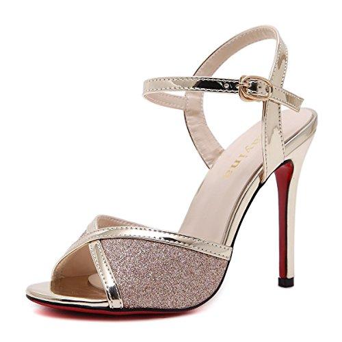 L@YC Frauen High Heels Hohle Peep Toe 12cm Word Gürtelschnalle Mit Sandalen Yellow