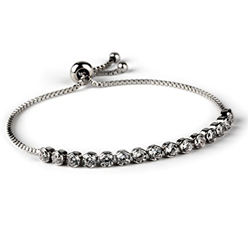Plated Zirconia Adjustable Bracelet Platinum