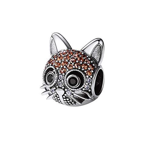 SILVERCUTE Shorthair Cat Charm Orange Cubic Zirconia Inlaid 925 Sterling Silver Animal Bead for Girls