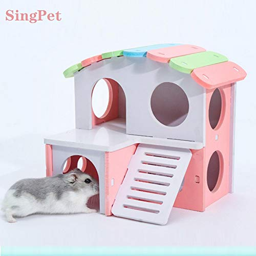 Enjoyable Hamster Hideout Dwarf Hamster House Exercise Play Toys Ecological Two Storey Wooden Hut Safe Non Toxic Hamster Cage Accessories For Hamsters Ocoug Best Dining Table And Chair Ideas Images Ocougorg