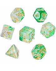 GWHOLE Polyhedral dobbelstenen set voor kerkers en draken tafelspel dobbelstenen voor D & D, DND, GRP met zwarte zakje, transparant groen
