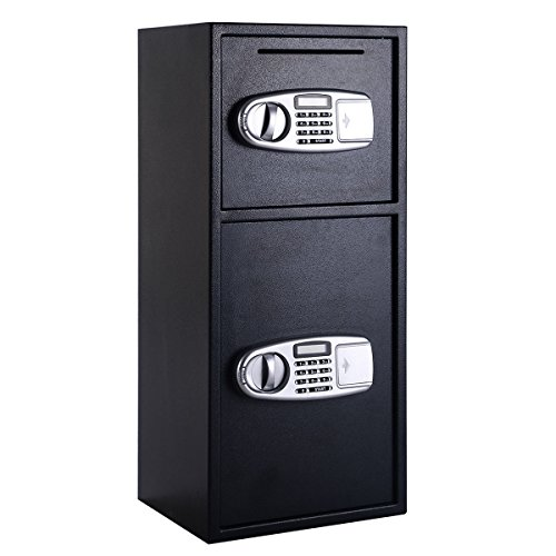 (Giantex Safe Box Security Lock Box with Double Door and Keys Digital Safe Depository Drop Box Safes Home Office Security Lock for Gun Cash Valuable Storage)