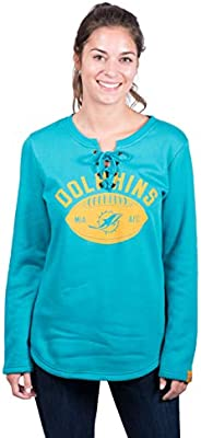 f08ae058 Icer Brands NFL Miami Dolphins Women's Fleece Sweatshirt Lace Long ...