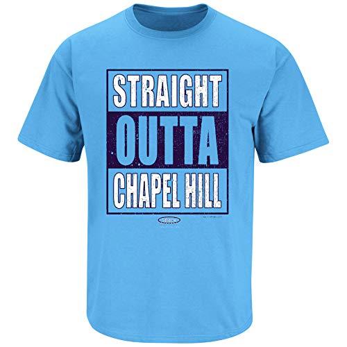 North Carolina Basketball Fans. Straight Outta Chapel Hill Carolina Blue T Shirt (Sm-5X) (Short Sleeve, Large) (Chapel Basketball Hill)