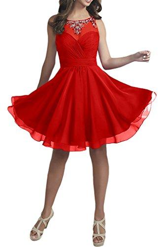 La Cocktailkleider mit Perlen Chiffon Rot Abendkleider Ballkleider Promkleider Weinrot mia Damen Kurz Braut rgwqrHUz