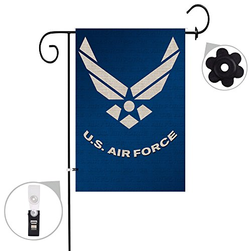 Bonsai Tree Burlap us Air Force Spring Garden Flags 12x18 Prime Double-Sided Yard Outdoor Decorative Flag Banner Stopper & Anti-Wind Clip... ()