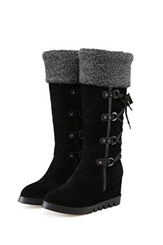 Homiki Damen Halbschaft Stiefeletten Schlupfstiefel Mit Absatz Round Toe Flach Schnür Boots Rutsch Schwarz