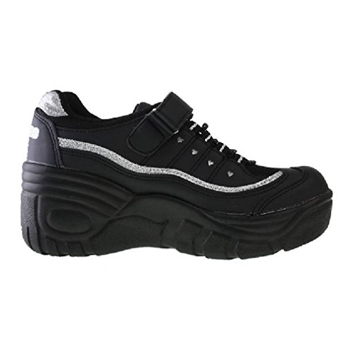 Epicstep Femmes Casual Velcro Lace Up Plate-forme Coins Talons Pom-pom Girls Chaussures Sneakers Noir