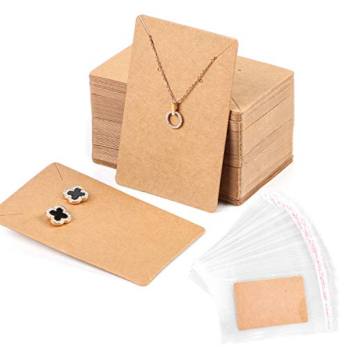 100 Pack Earring Cards+200 Pcs Self-Sealing Bags, Kraft Paper Necklace Display Cards and Earring Card Holder, Hanging Earring Cards for Earrings and Necklace -