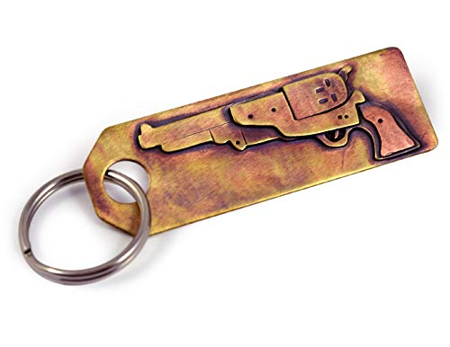Hand-Tooled American Made Bronze Keychain with Colt Revolver Gun Design