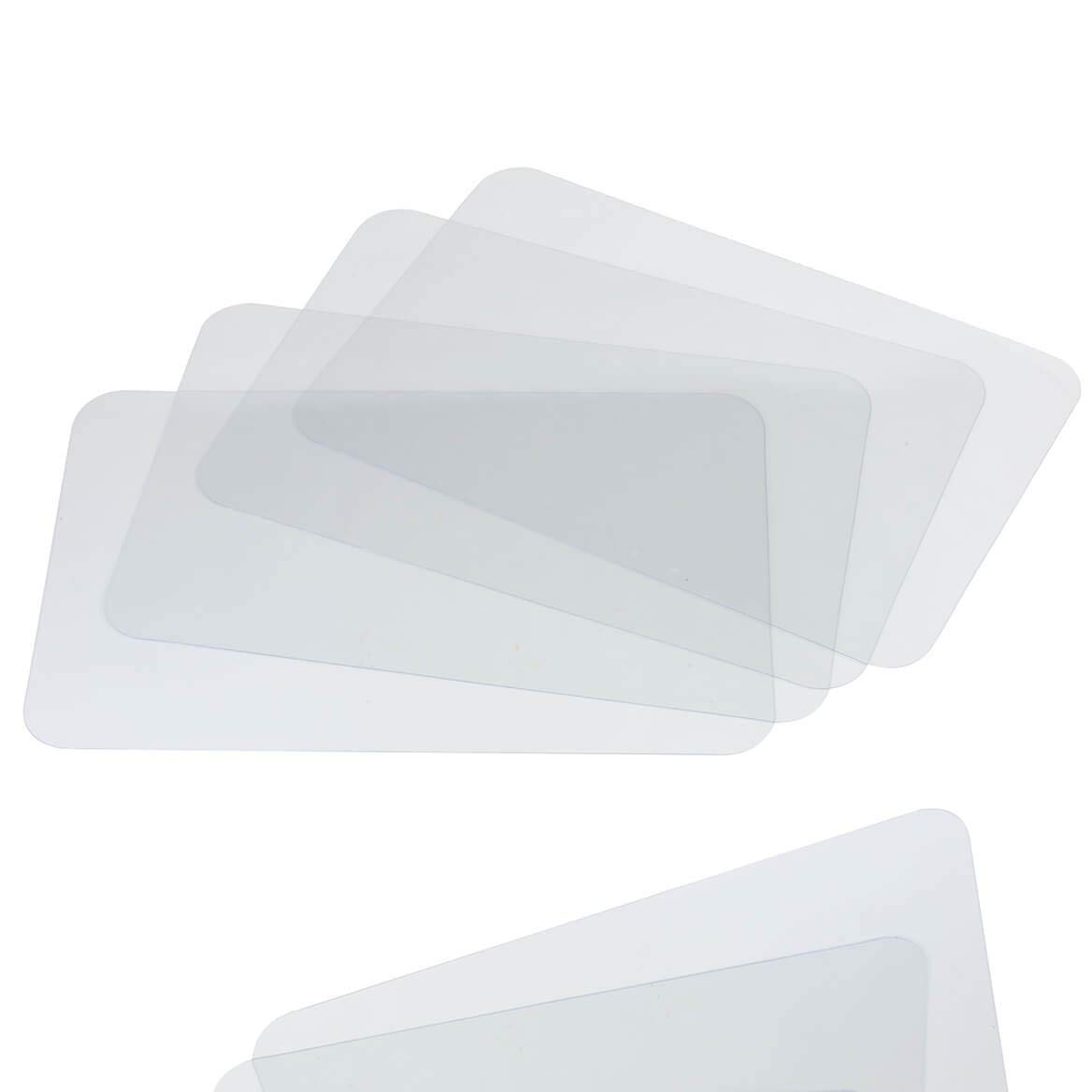 CraftyCrocodile Clear Placemats - Protective Plastic Sheets for Dining Table, Office Desk, Shelves, and Kitchen Counter Cover - Multi-Use, Flexible, and Durable Transparent Mats - Set of 4, 18x12 Inches
